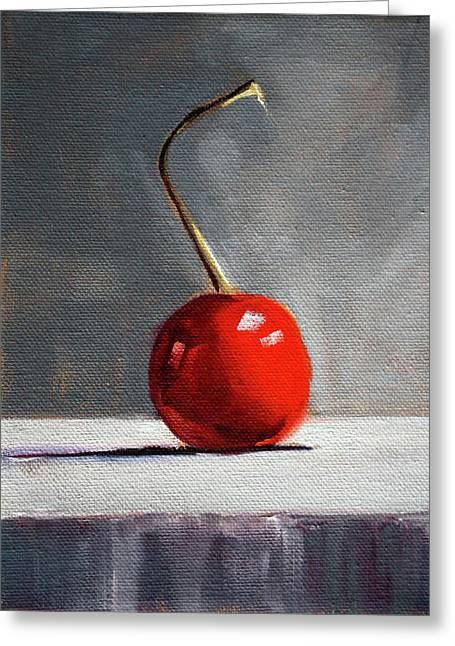 Greeting Card featuring the painting Red Cherry by Nancy Merkle