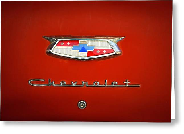 Greeting Card featuring the photograph Red Chevy Bel-air Trunk by Marilyn Hunt