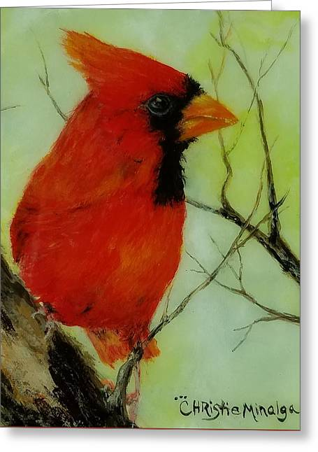 Greeting Card featuring the painting Red by Christie Minalga