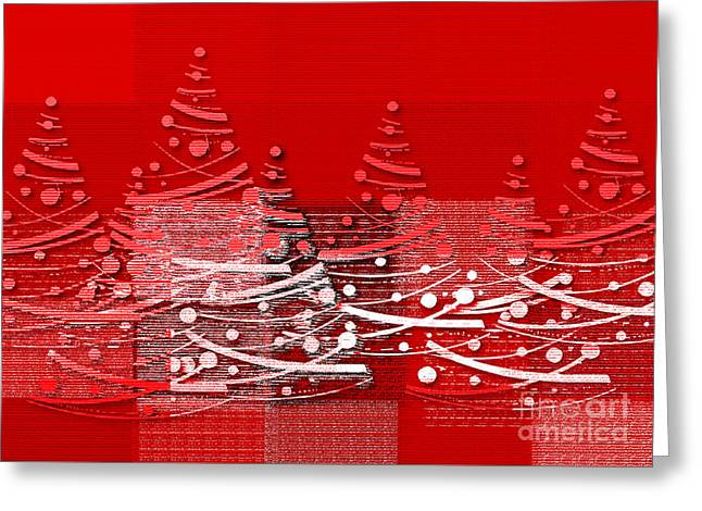 Greeting Card featuring the digital art Red Christmas Trees by Aimelle