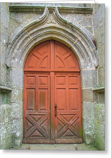 Red Church Door IIi Greeting Card by Helen Northcott