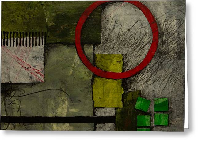 Red Circle No.1 Greeting Card by Laura  Lein-Svencner