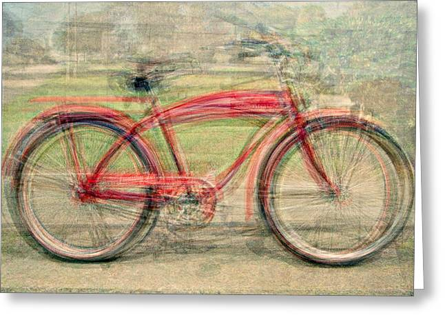 Red Classic Bikes Greeting Card by Denis Bouchard