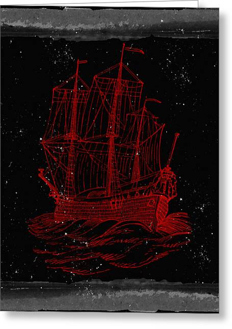 Red Clipper Ship Starry Night Greeting Card by Brandi Fitzgerald
