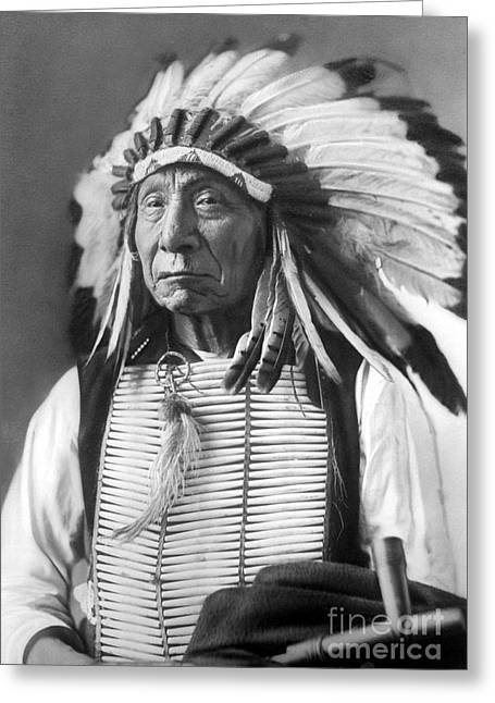 Red Cloud, Dakota Chief, Wearing A Headdress, 1880s Greeting Card by David Frances Barry
