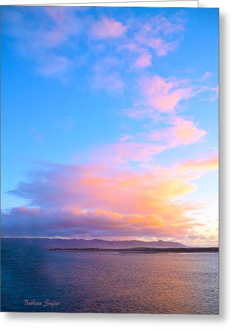 Red Clouds Over Morro Bay Greeting Card by Barbara Snyder