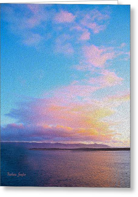 Red Clouds Over Morro Bay Painting Greeting Card by Barbara Snyder
