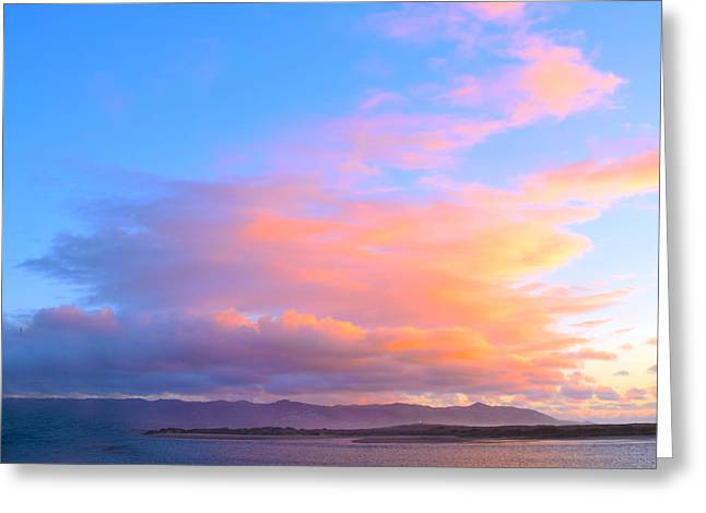 Red Clouds Over Morro Bay Small Greeting Card by Barbara Snyder