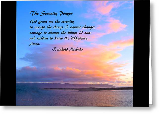 Red Clouds Over Morro Bay Small Serenity Greeting Card by Barbara Snyder