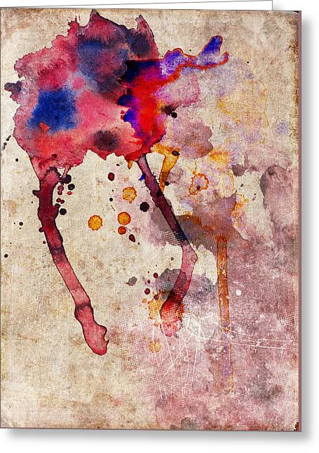 Red Color Splash Greeting Card