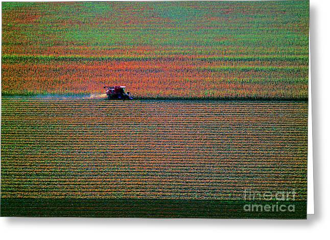 Red Combine Harvesting  Mchenry Aerial Greeting Card