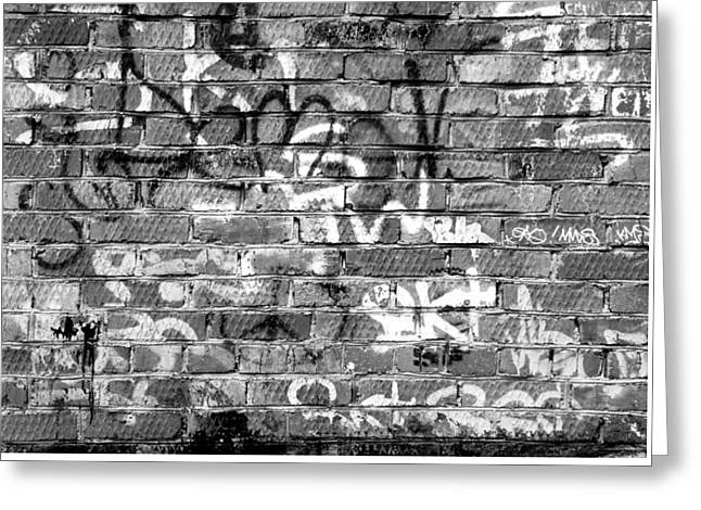 Red Construction Brick Wall And Spray Can Art Signatures Greeting Card