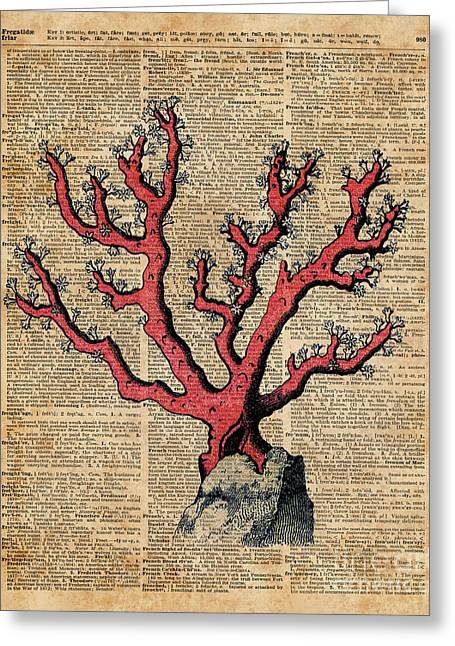 Red Coral Vintage Illustration Dictionary Art Greeting Card by Jacob Kuch