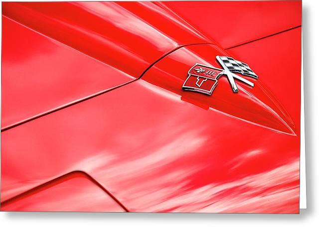 Red Corvette Hood Greeting Card
