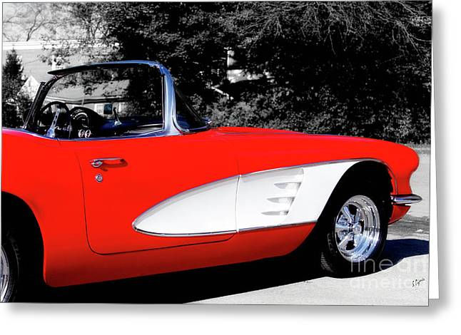 Red Corvette  Greeting Card by Steven Digman
