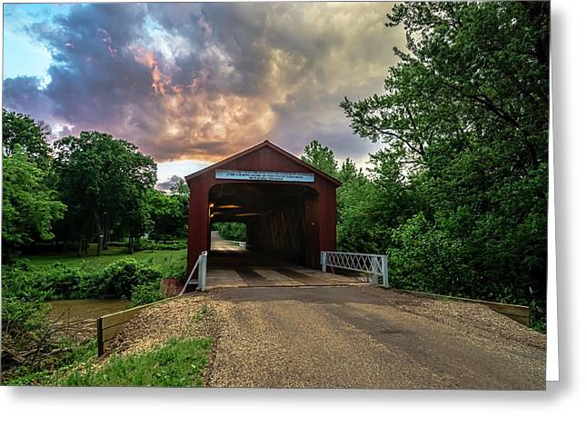 Red Covers Bridge With Pretty Sky  Greeting Card