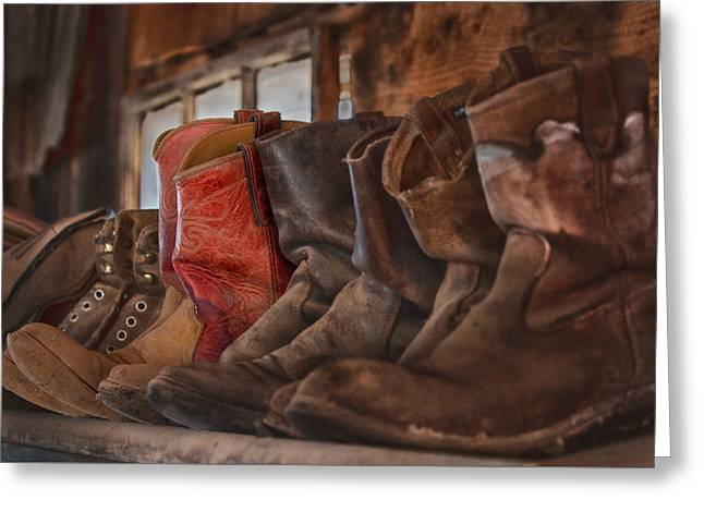 Red Cowboy Boot Greeting Card by Janet Ballard