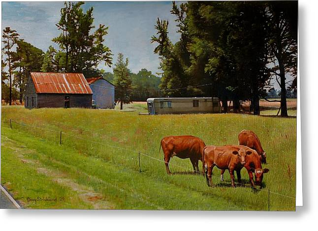 Red Cows On Grapevine Road Greeting Card by Doug Strickland