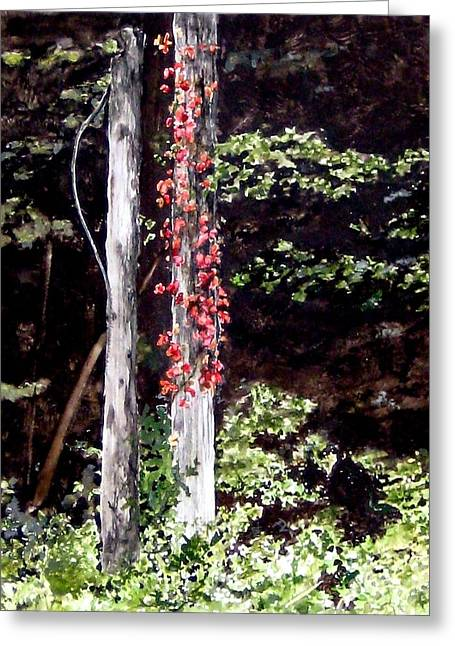 Red Creeper Greeting Card by Carla Dabney