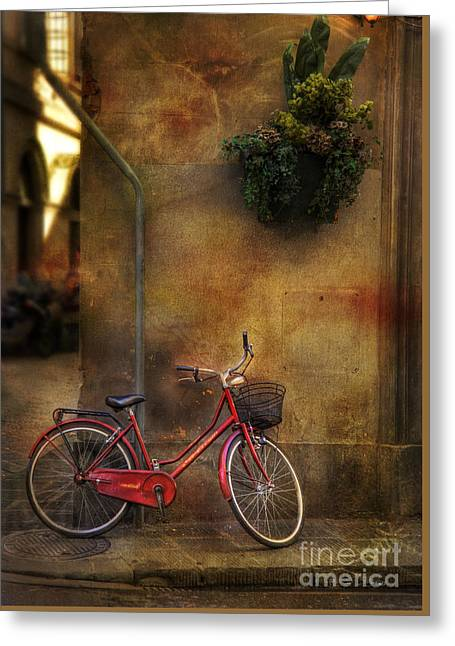 Red Crown Bicycle Greeting Card