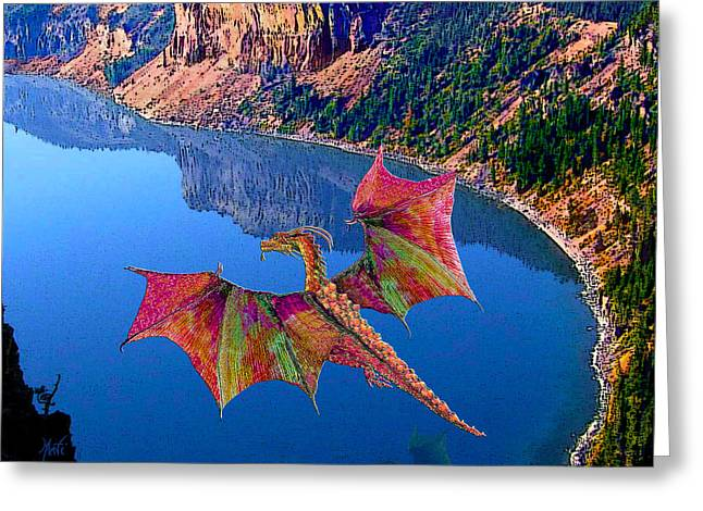 Red Crystal Crater Lake Dragon Greeting Card by Michele Avanti