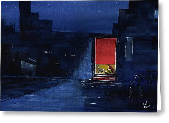 Greeting Card featuring the painting Red Curtain by Anil Nene