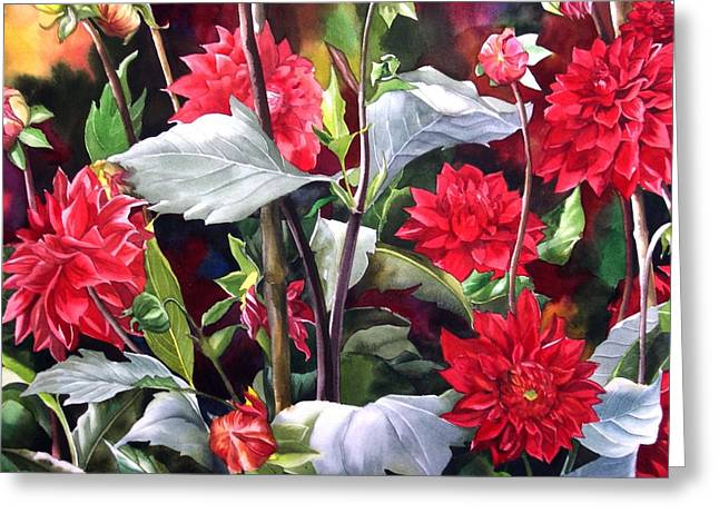 Greeting Card featuring the painting Red Dahlias by Alfred Ng