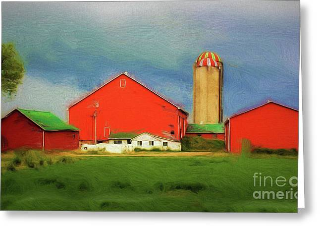 Red Dairy Farm Greeting Card by Anthony Djordjevic
