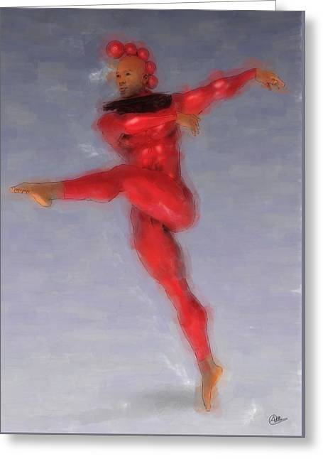 Red Dancer Greeting Card by Quim Abella