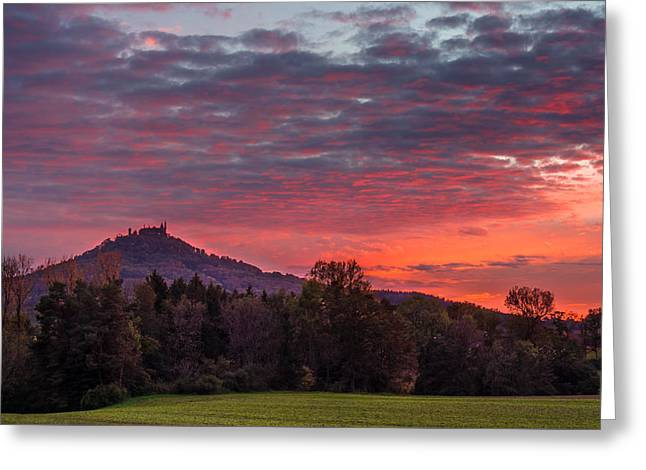 Red Dawn Over The Hohenzollern Castle Greeting Card