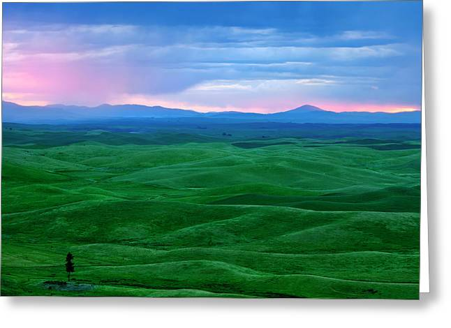 Storm Clouds Greeting Cards - Red Dawn over the Palouse Greeting Card by Mike  Dawson