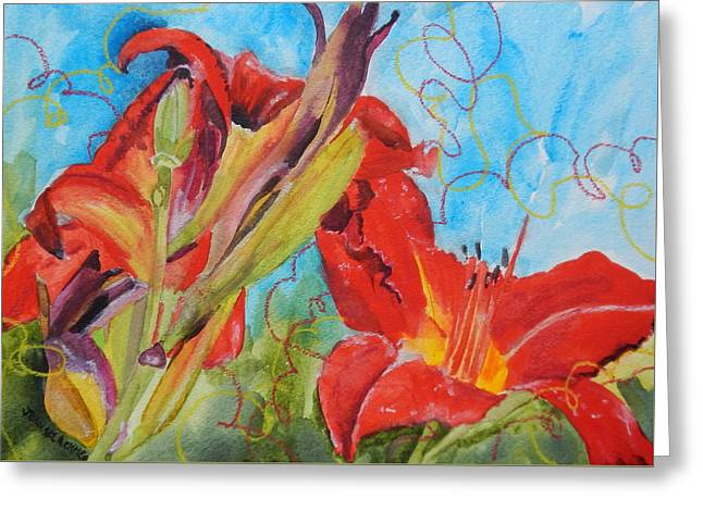 Red Day Lilies Greeting Card