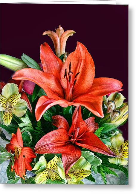 Red Day Lily Bouquet Greeting Card by Linda Phelps