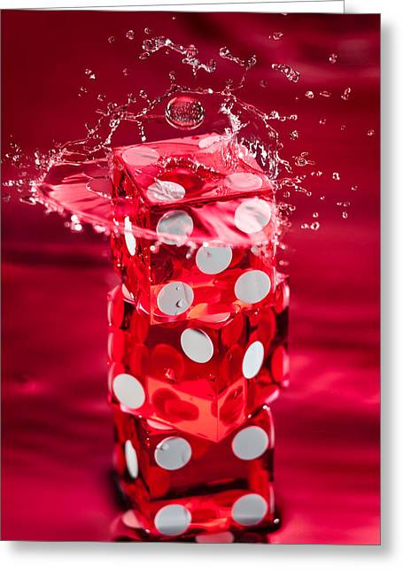 Dice Greeting Cards - Red Dice Splash Greeting Card by Steve Gadomski