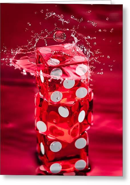 Red Dice Splash Greeting Card