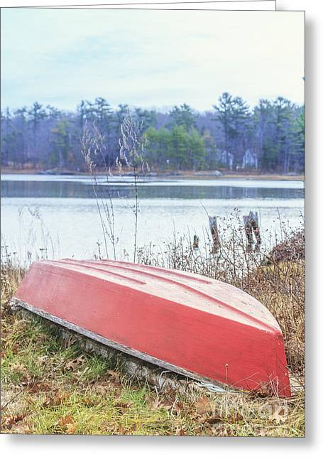 Red Dingy Greeting Card by Edward Fielding