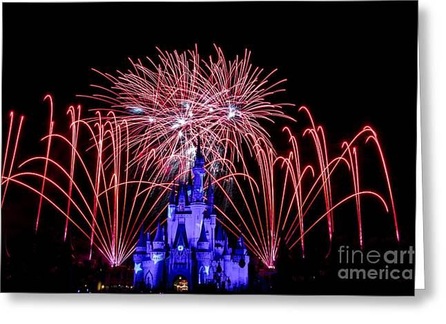 Red Disney Fireworks Greeting Card