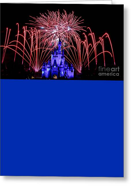 Red Disney Fireworks Greeting Card
