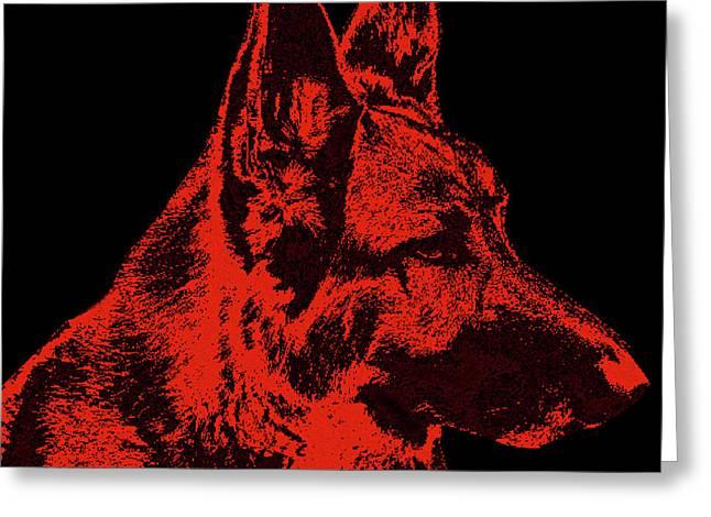 Red Dog - German Shepherd Greeting Card