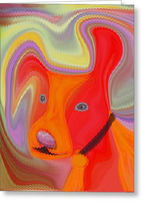 Red Dog Greeting Card by Ruth Palmer