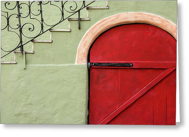 Red Door And Gray Greeting Card by Gala Sofie Kuhn