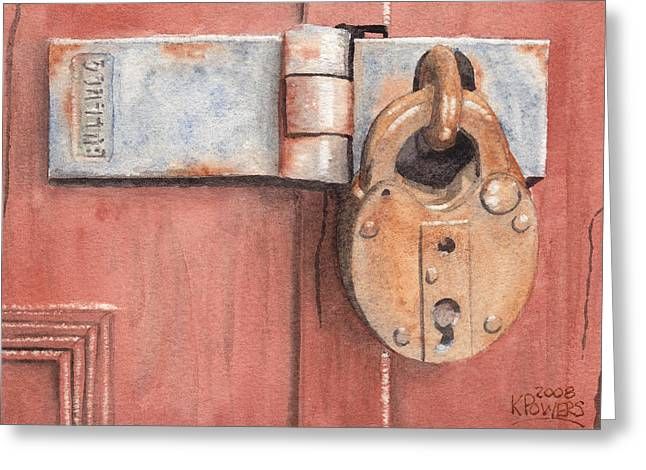 Red Door And Old Lock Greeting Card by Ken Powers