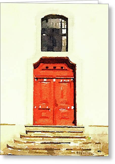 Red Door Greeting Card by Anita Van Den Broek