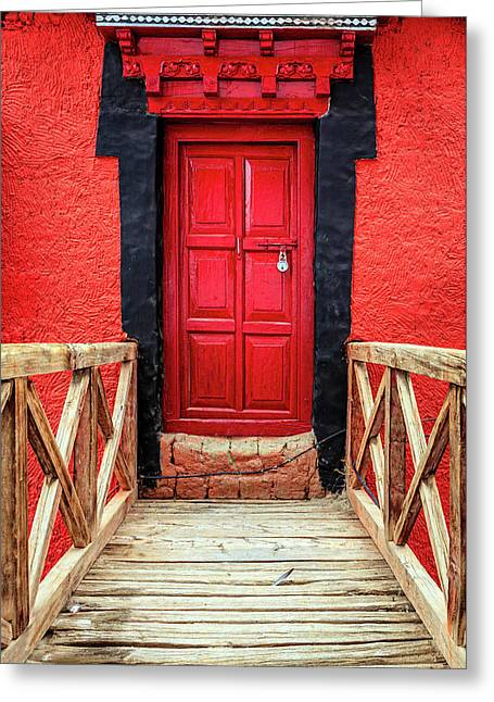 Greeting Card featuring the photograph Red Door At A Monastery by Alexey Stiop