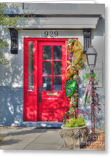 Red Door At Night -- Sailor's Delight Greeting Card by David Bearden