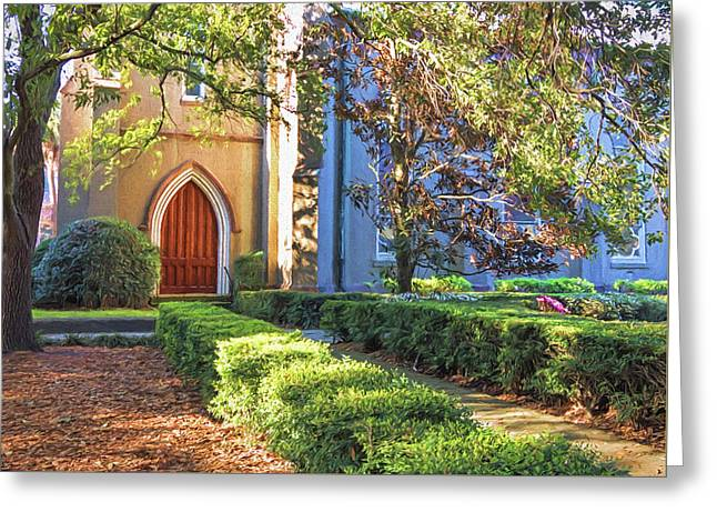 Greeting Card featuring the photograph Red Door Church by Kim Hojnacki