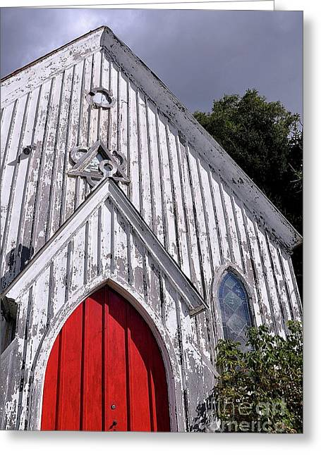 Red Door Greeting Card by Gina Savage