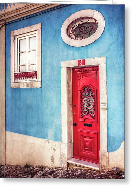 Red Door In Lisbon  Greeting Card by Carol Japp