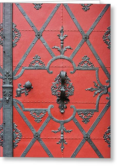 Greeting Card featuring the photograph Red Door In Prague - Czech Republic by Melanie Alexandra Price