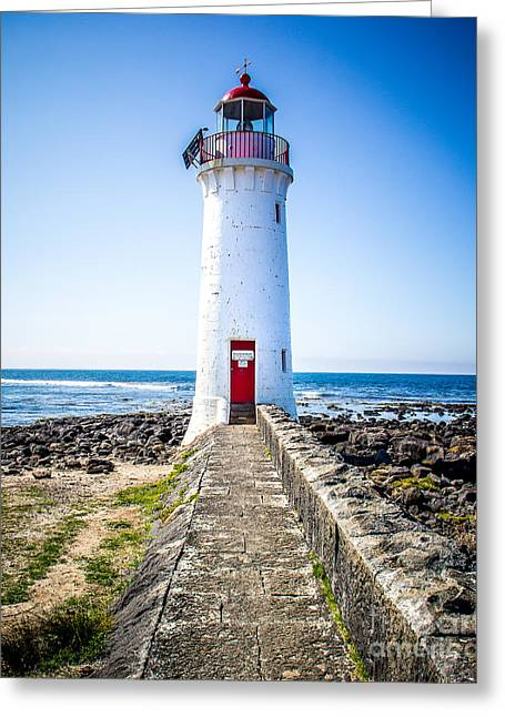 Red Door Lighthouse Greeting Card by Perry Webster